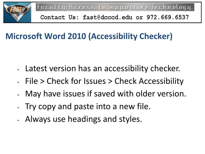 Microsoft Word 2010 (Accessibility Checker)
