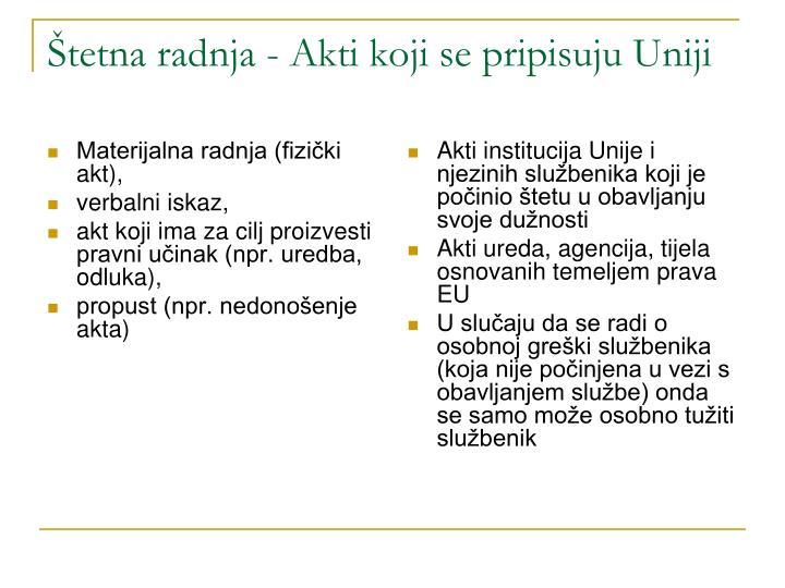 Štetna radnja - Akti koji se pripisuju Uniji