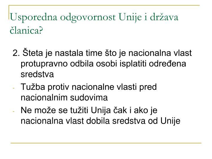 Usporedna odgovornost Unije i država članica?
