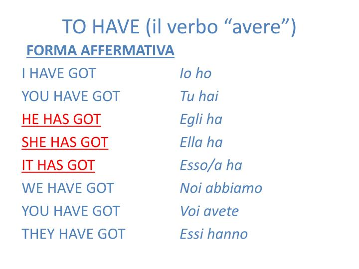 """TO HAVE (il verbo """"avere"""")"""