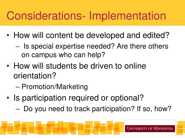 Considerations- Implementation