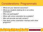 considerations programmatic