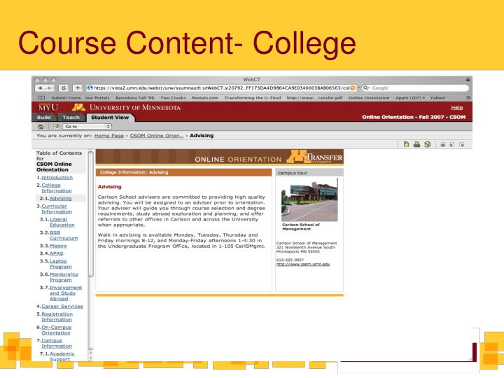 Course Content- College