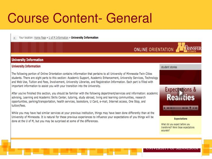 Course Content- General