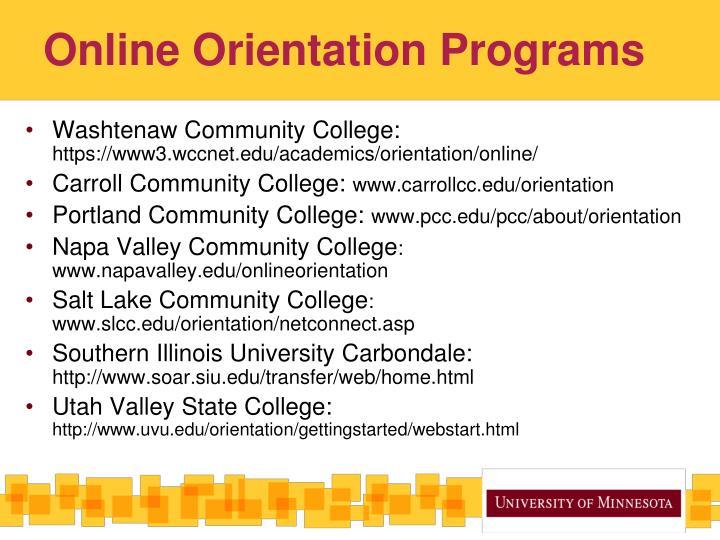 Online Orientation Programs