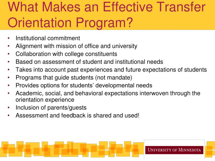 What Makes an Effective Transfer Orientation Program?