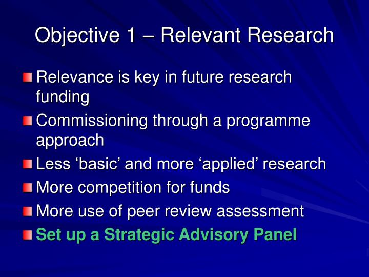 Objective 1 – Relevant Research
