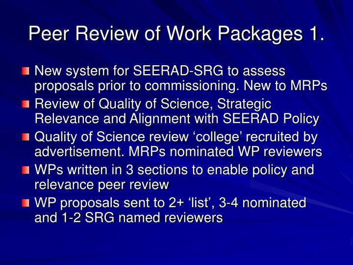 Peer Review of Work Packages 1.