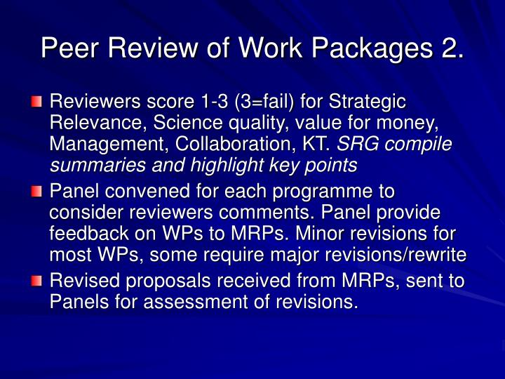 Peer Review of Work Packages 2.