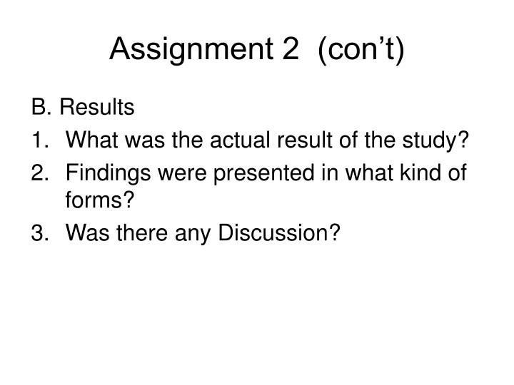 Assignment 2  (con't)