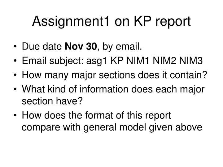 Assignment1 on KP report