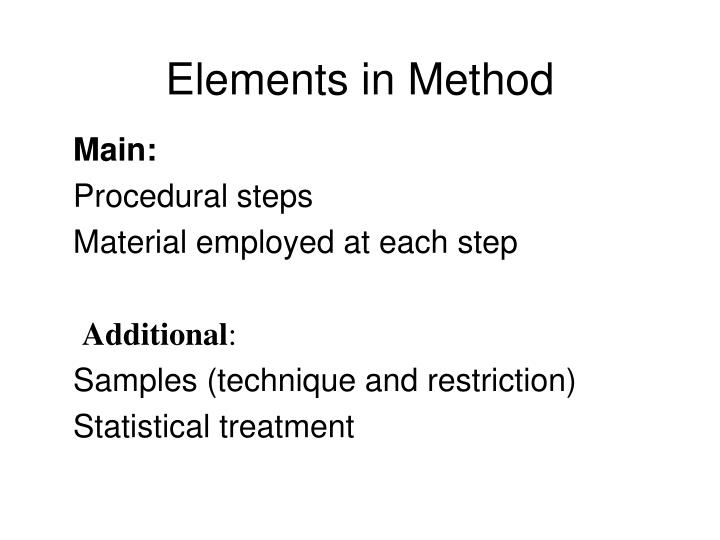 Elements in Method