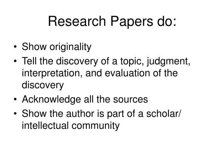 Research Papers do:
