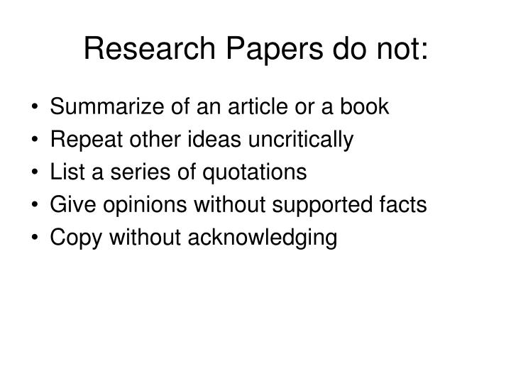 Research Papers do not: