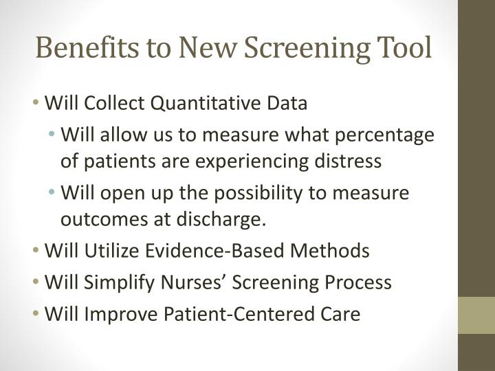 Benefits to New Screening Tool