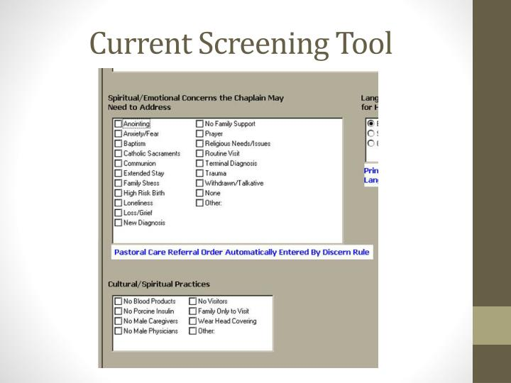 Current Screening Tool