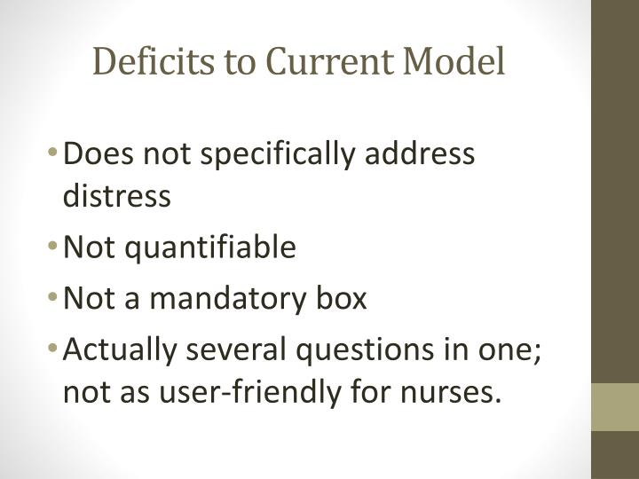 Deficits to Current Model