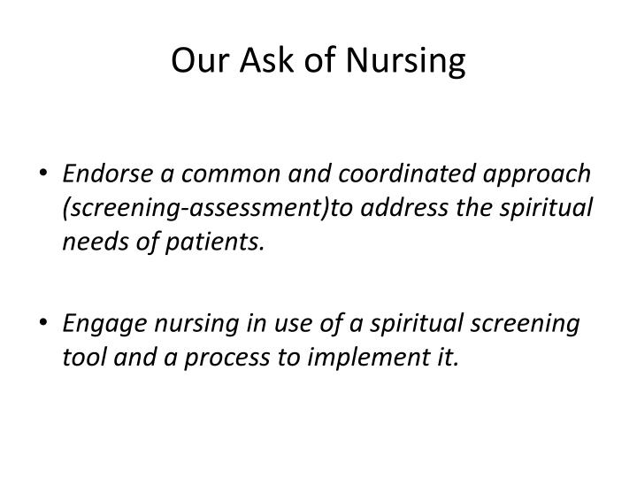 Our Ask of Nursing