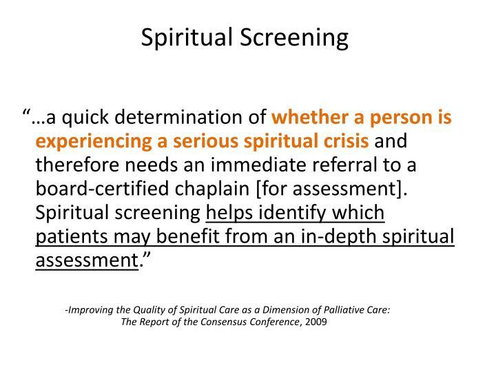 Spiritual Screening