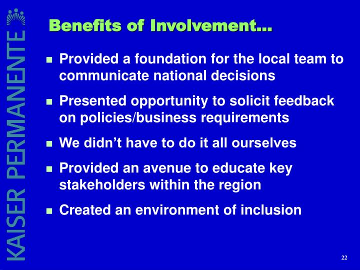 Benefits of Involvement...