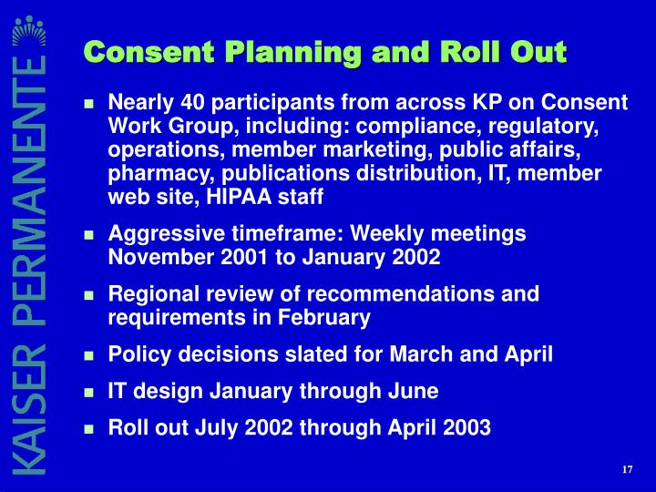 Consent Planning and Roll Out