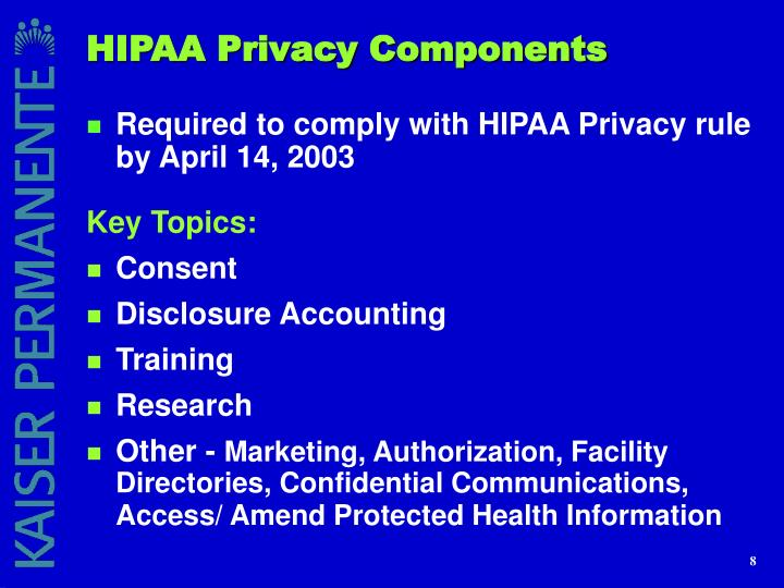 HIPAA Privacy Components