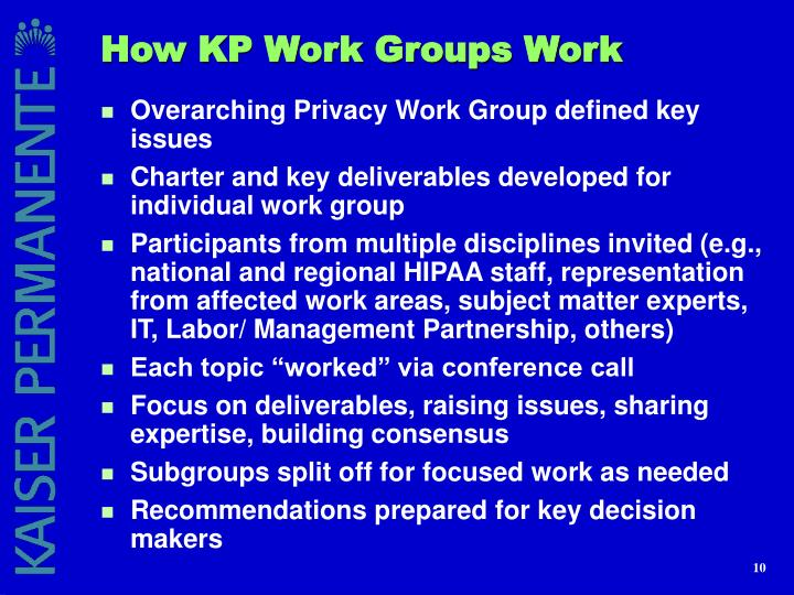How KP Work Groups Work