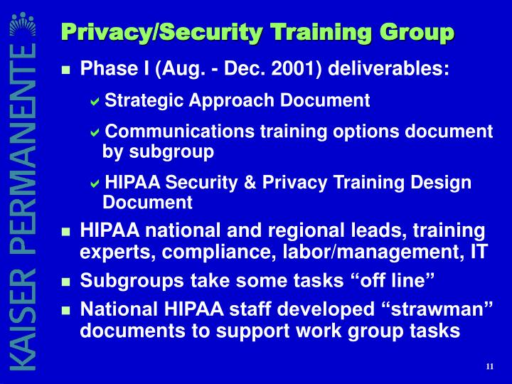 Privacy/Security Training Group