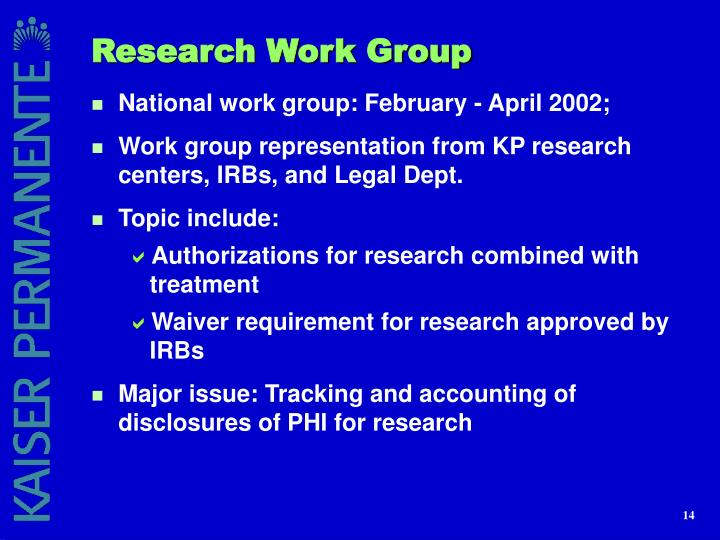Research Work Group
