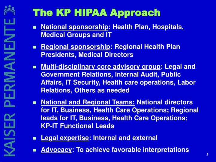 The KP HIPAA Approach