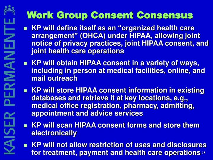 Work Group Consent Consensus