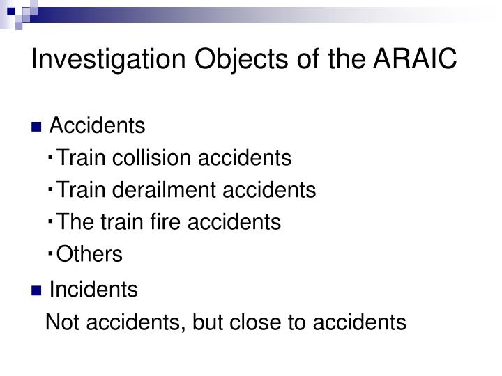 Investigation Objects of the ARAIC