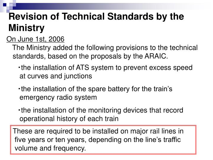 Revision of Technical Standards by the Ministry