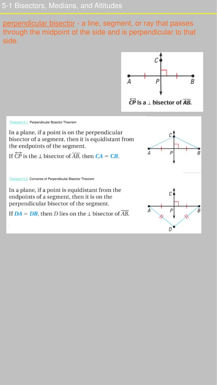 5-1 Bisectors, Medians, and Altitudes