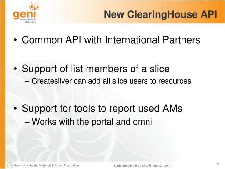 New clearinghouse api