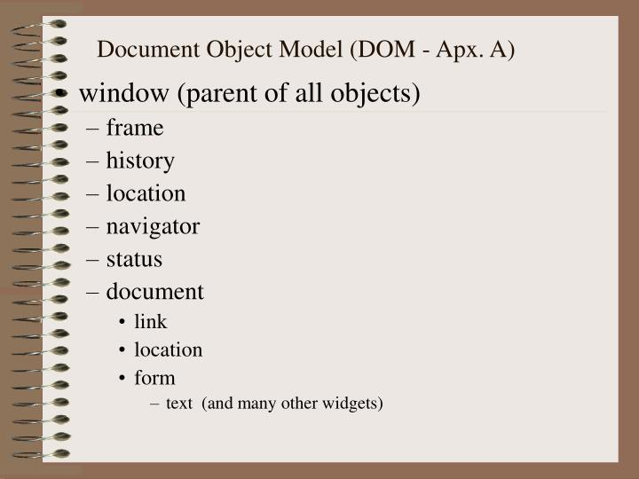 Document Object Model (DOM - Apx. A)