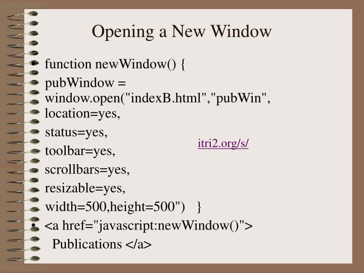 Opening a New Window