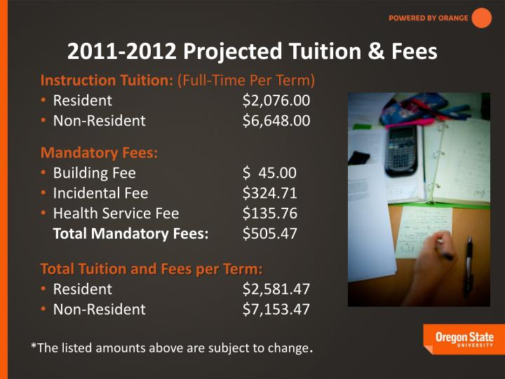 2011-2012 Projected Tuition & Fees