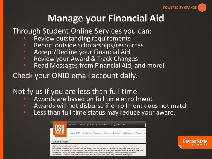 Manage your Financial Aid