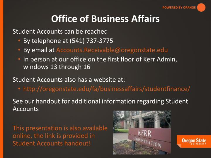 Office of Business Affairs