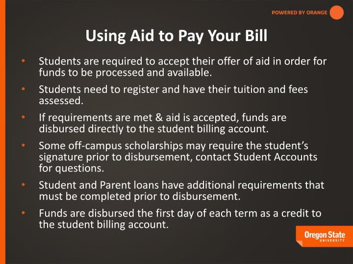 Using Aid to Pay Your Bill
