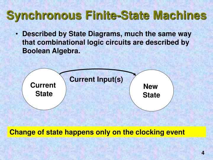 Described by State Diagrams, much the same way that combinational logic circuits are described by Boolean Algebra.