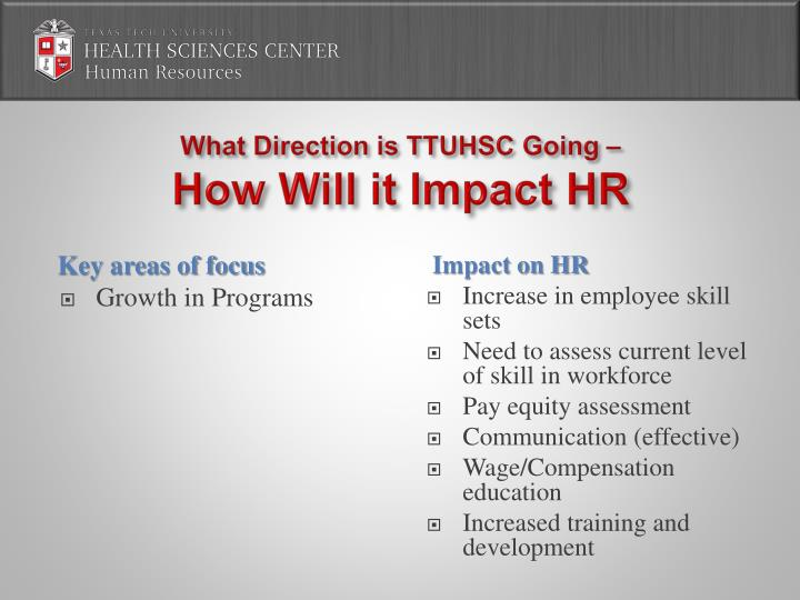 What Direction is TTUHSC Going –