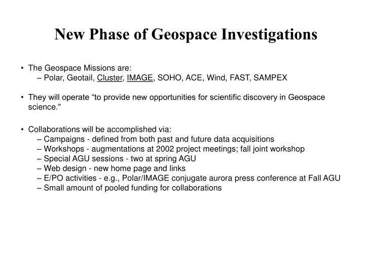 New Phase of Geospace Investigations