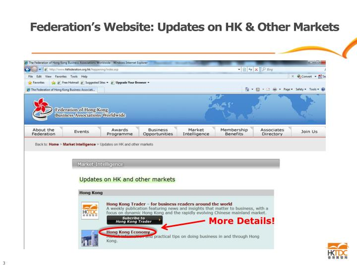 Federation's Website: Updates on HK & Other Markets
