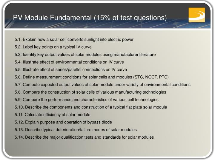 PV Module Fundamental (15% of test questions)