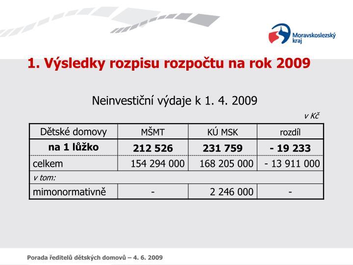 1. Výsledky rozpisu rozpočtu na rok 2009