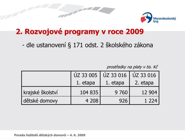 2. Rozvojové programy v roce 2009