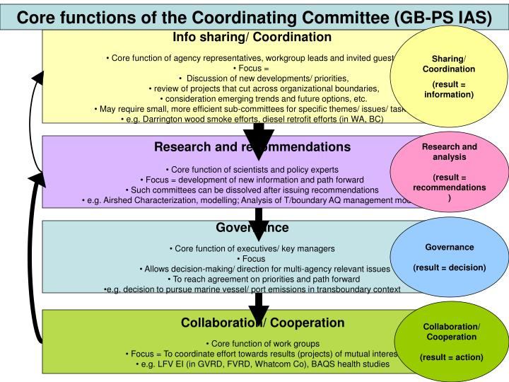 Core functions of the Coordinating Committee (GB-PS IAS)