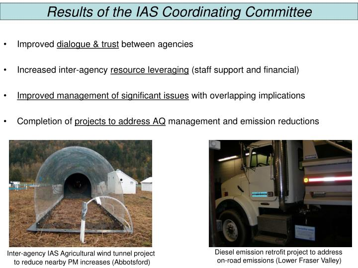 Results of the IAS Coordinating Committee